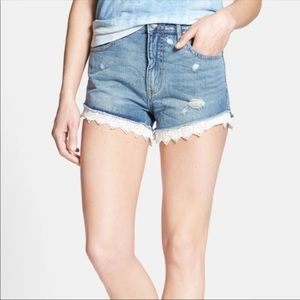 Free People Denim Shorts with Lace Trim - Size 26